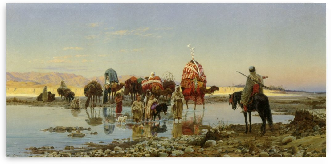 People and caravans by Eugene Alexis Girardet