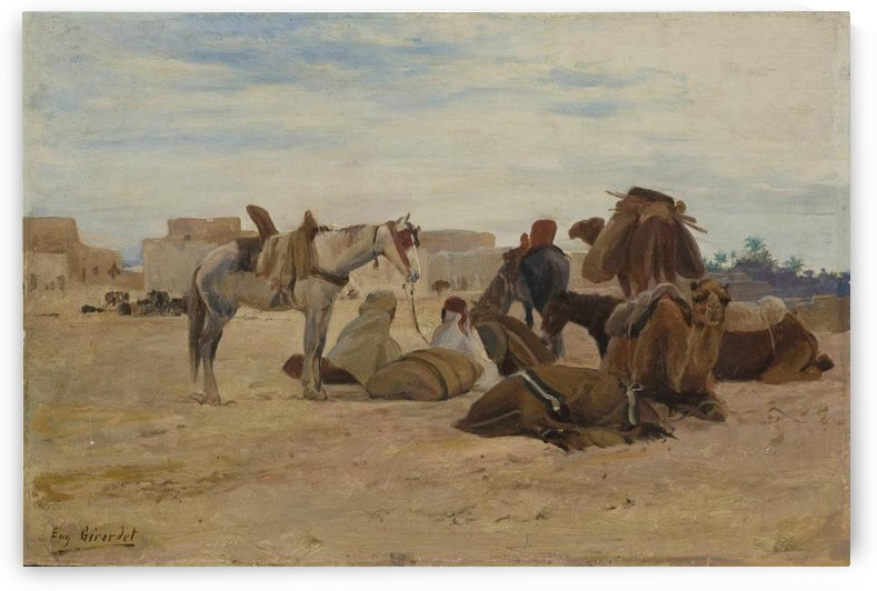 Resting at the Oasis by Eugene Alexis Girardet