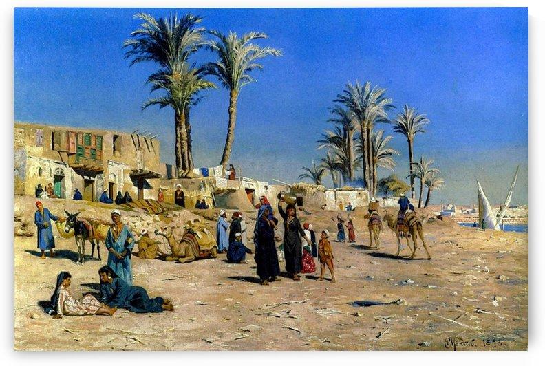 Washerwomen on the banks of the Nile by Eugene Alexis Girardet