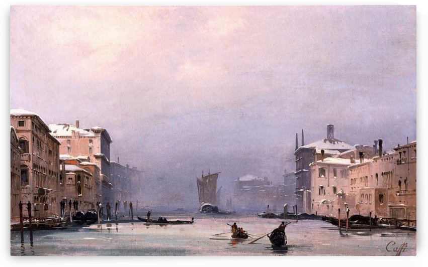 Snow and fog on the Grand Canal by Ippolito Caffi