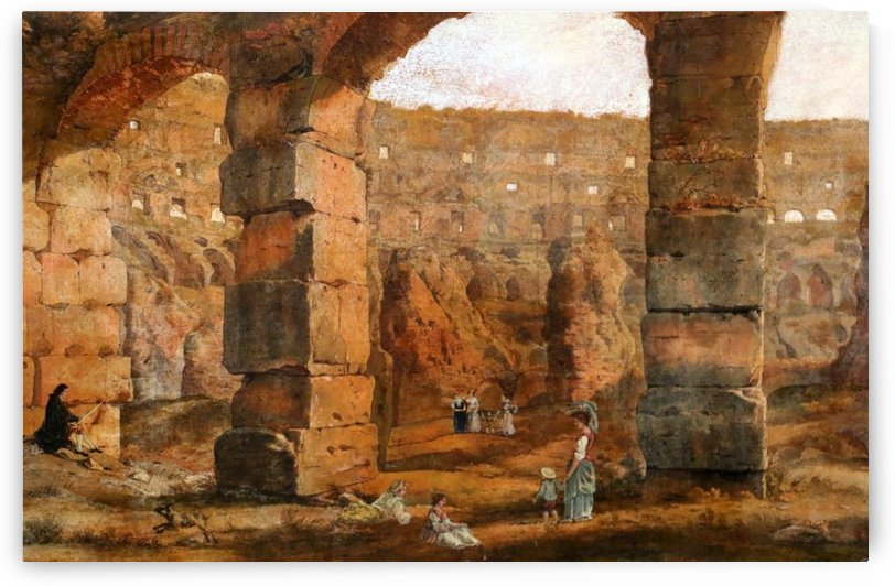 The ruins of the Colisseum in Rome by Ippolito Caffi