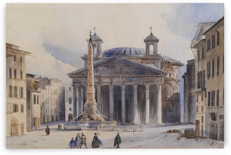 A view of The Pantheon by Ippolito Caffi