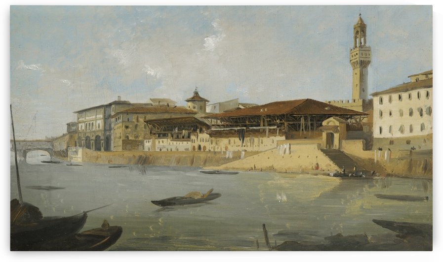 Florence, a view of the Arno with the Tiratoio delle Grazie by Ippolito Caffi