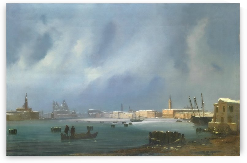 View of St. Mark's Basin in Venice under the snow by Ippolito Caffi