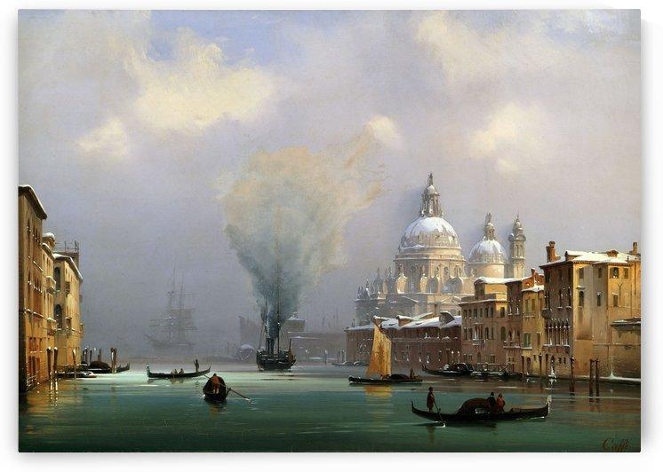Il Canal Grande con la chiesa della Salute sotto la neve, olio su tela by Ippolito Caffi