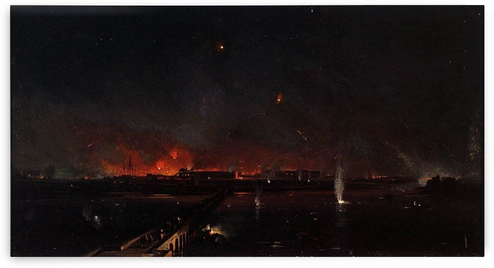 Bombardment of Marghera on the Night of May 24, 1849 by Ippolito Caffi