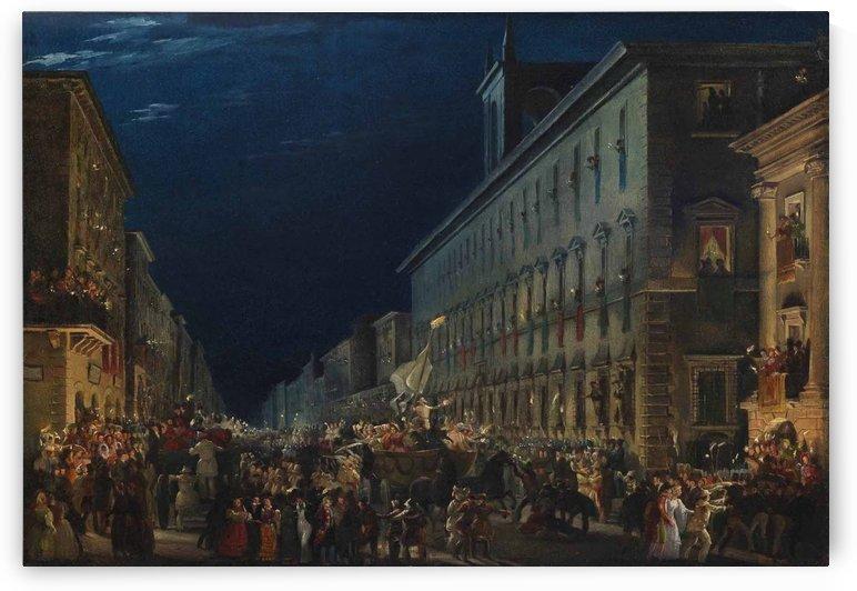 Carnival night in via del Corso in Rome, 1845 by Ippolito Caffi