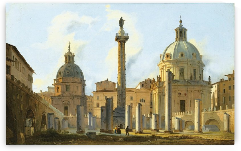 View of Trajan Forum in Rome by Ippolito Caffi