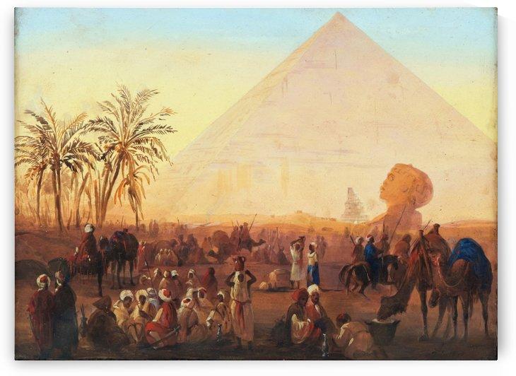 Caravan having a break at the pyramids by Ippolito Caffi