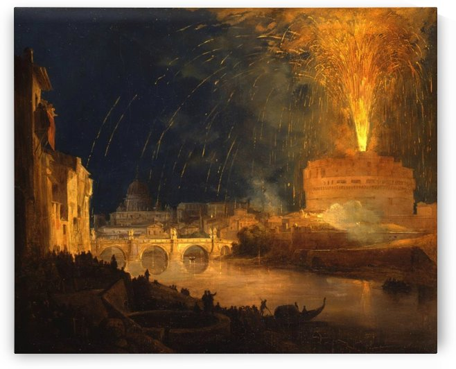 Fireworks at Castel Sant Angelo by Ippolito Caffi