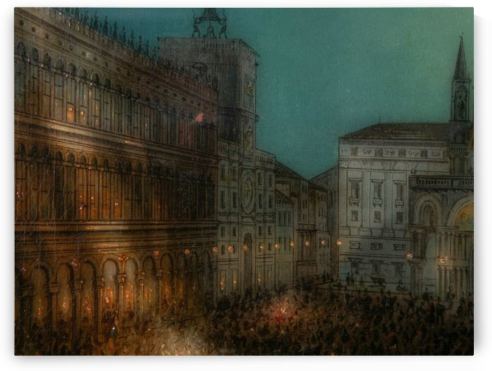 Carnival in Piazza by Ippolito Caffi