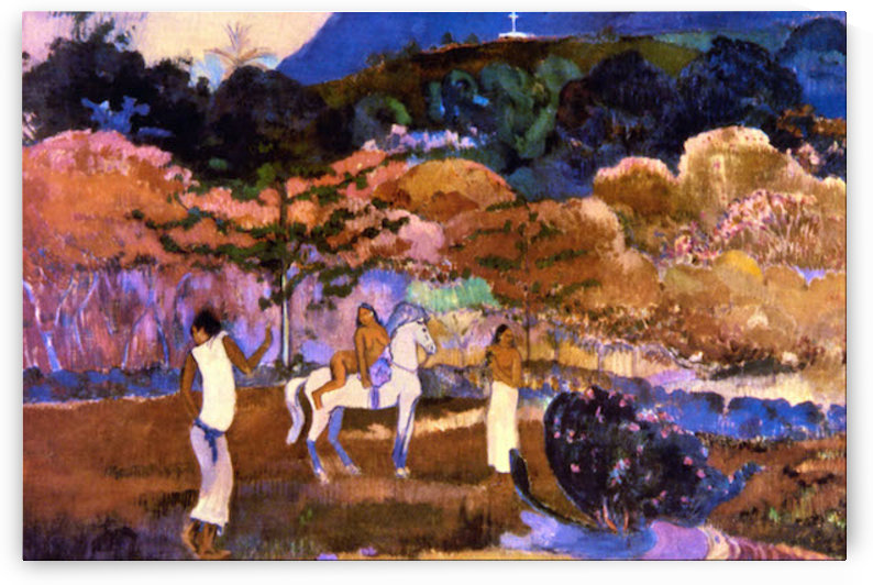 Woman an a White Horse by Gauguin by Gauguin
