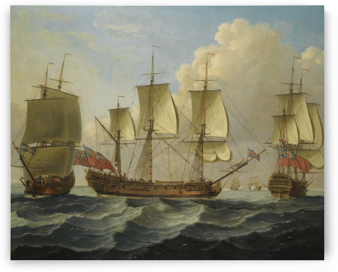 An East Indiamam in three pasitions by John Cleveley the Elder