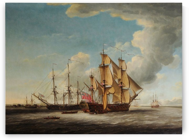 Two 32-gun Frigates receiving their Captains by John Cleveley the Elder