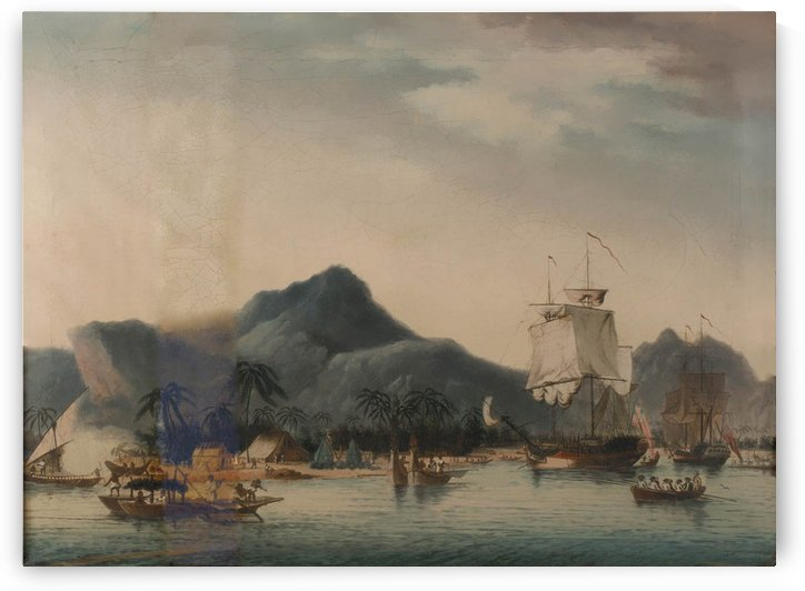 The Resolution and Discovery off Hawaii by John Cleveley the Elder