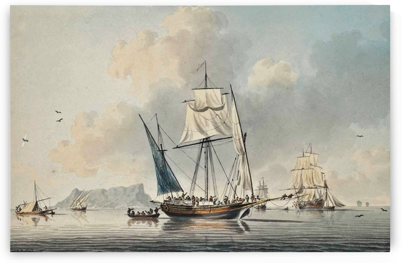 British warship in calm weather off Gibraltar by John Cleveley the Elder
