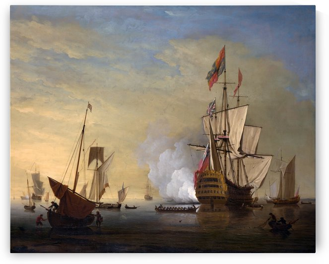 An English Ship with Sails Loosened Firing a Gun by John Cleveley the Elder