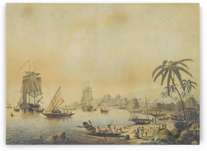 HMS Resolution and Discovery in Tahiti by John Cleveley the Elder