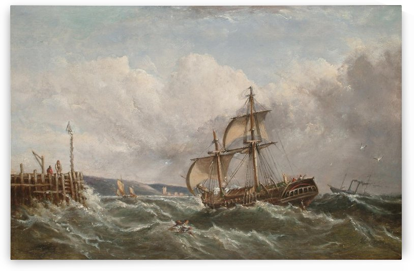 Shipping in choppy seas off the coast by Ebenezer Colls