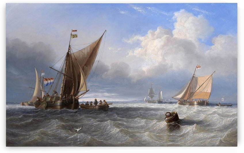 Dutch Shipping off the Isle of Goeree in Holland 1858 by Ebenezer Colls