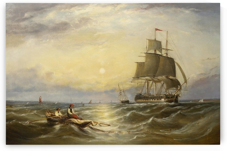 Hauling in the nets off an east coast light beacon by Ebenezer Colls