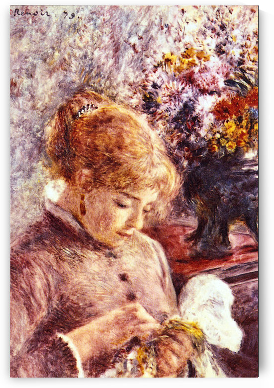 Woman Embroidering by Renoir by Renoir