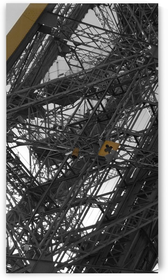 Eiffel tower Paris gold on black and white  by splash