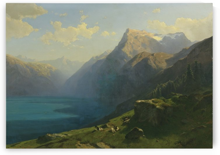 Swiss lake and mountains by Alexandre Calame