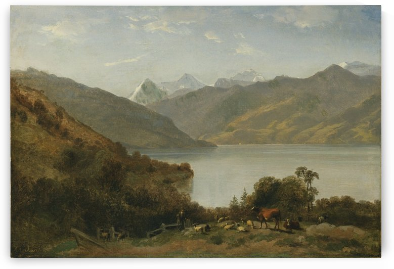 Landscape with a lake and animals by Alexandre Calame