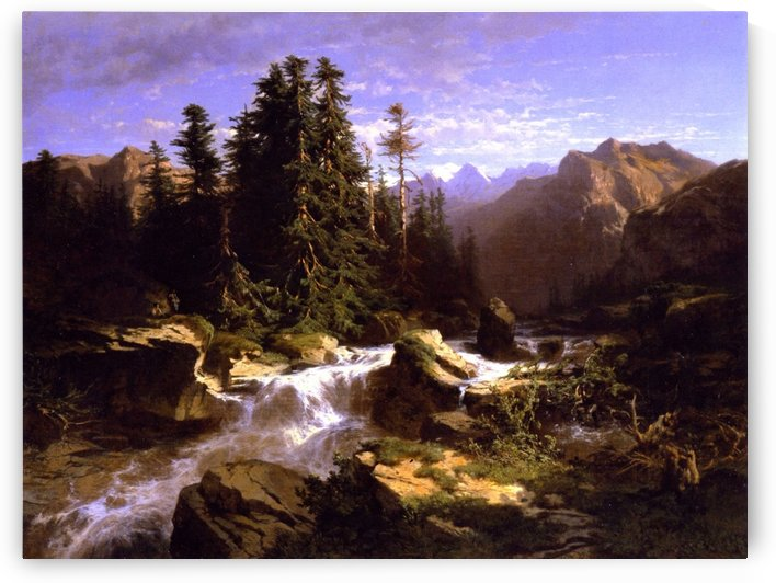 A river coming from the mountains by Alexandre Calame