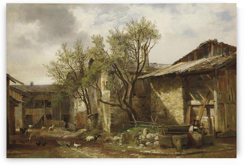 Ferme avec paysanne et animaux by Alexandre Calame