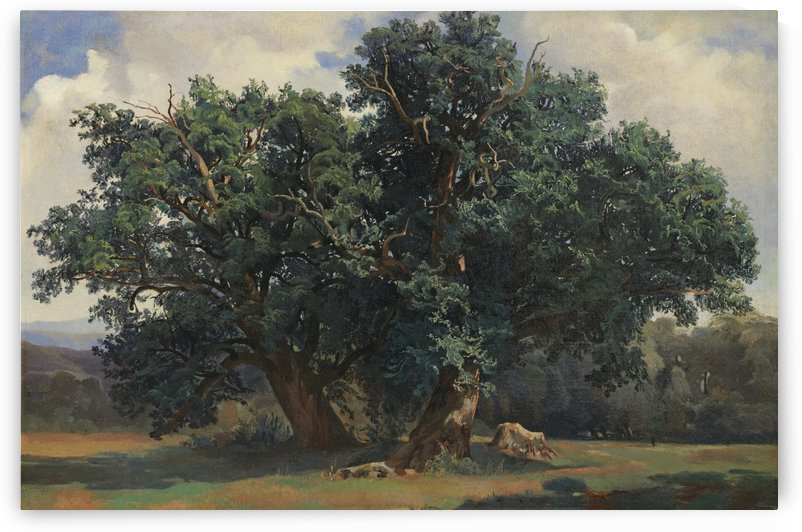Painting of a big green tree by Alexandre Calame