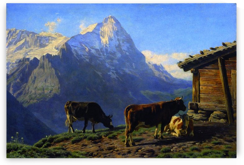 Landscape with cows by Alexandre Calame