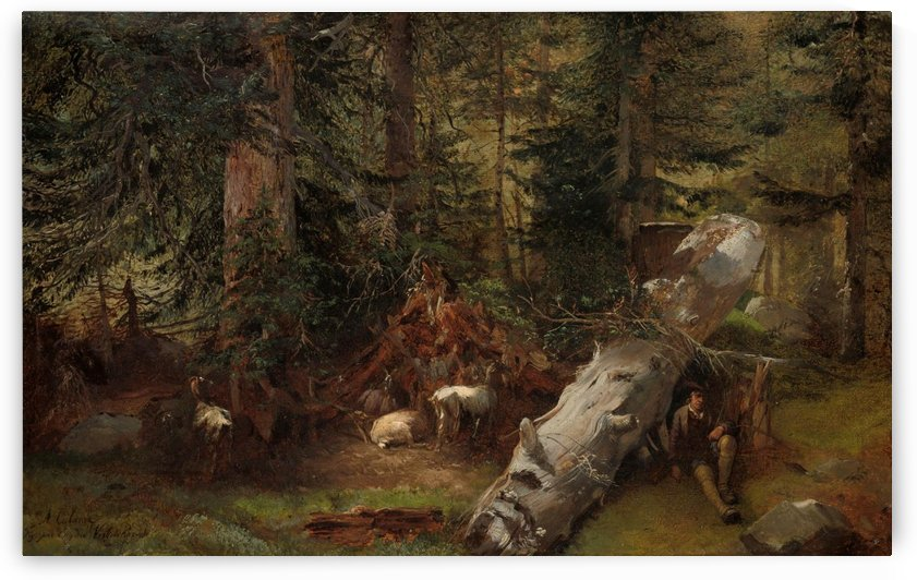 A fallen tree in the forest by Alexandre Calame