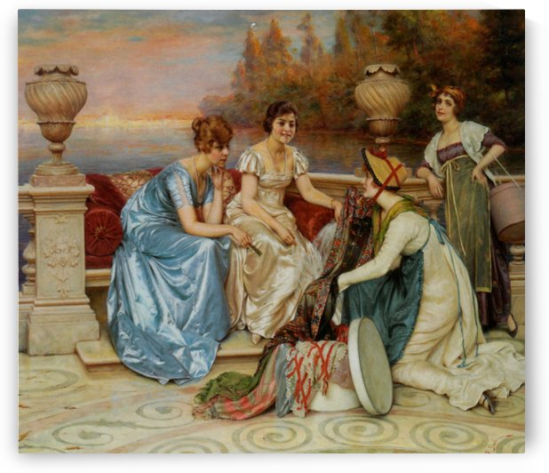 Fabrics merchant and her customers by Frederic Soulacroix