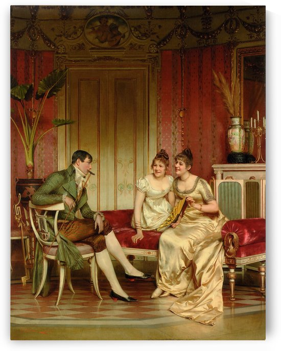 Two ladies and a gentleman by Frederic Soulacroix