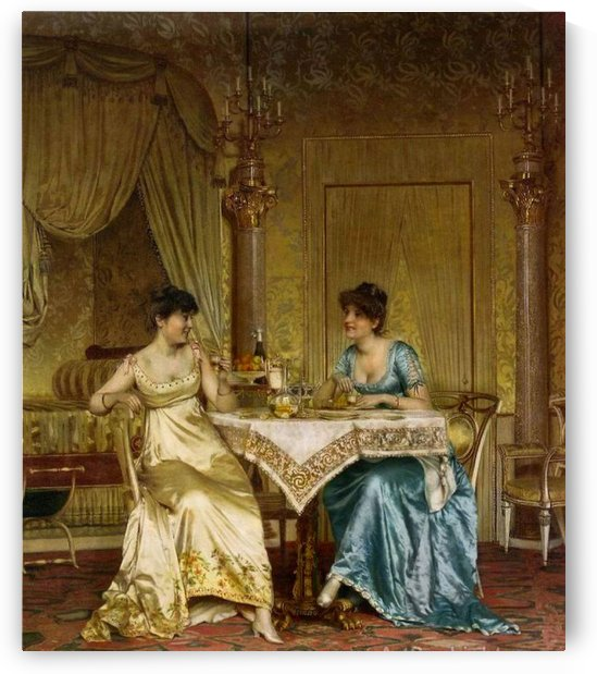 Two ladies chatting by Frederic Soulacroix