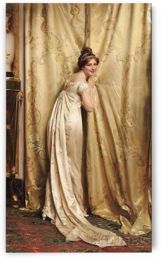 A woman by the courtains by Frederic Soulacroix