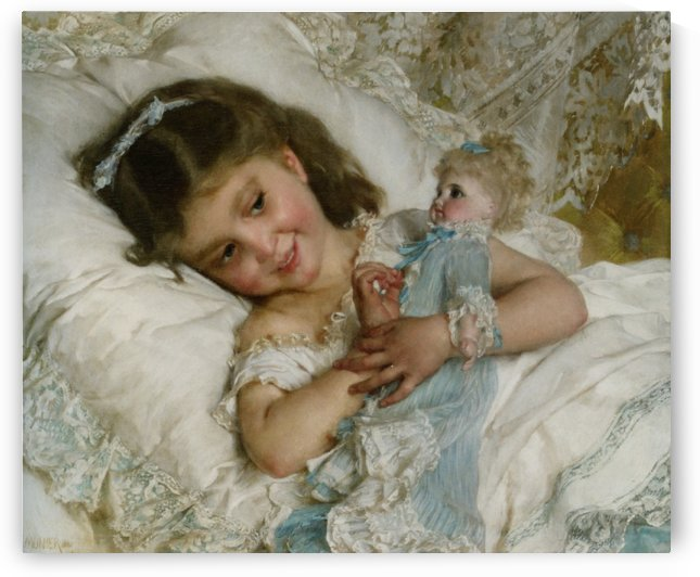 A girl and her doll by Etienne Dinet
