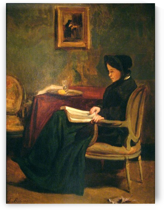 Seated woman reading, 1862 by Francois Bonvin