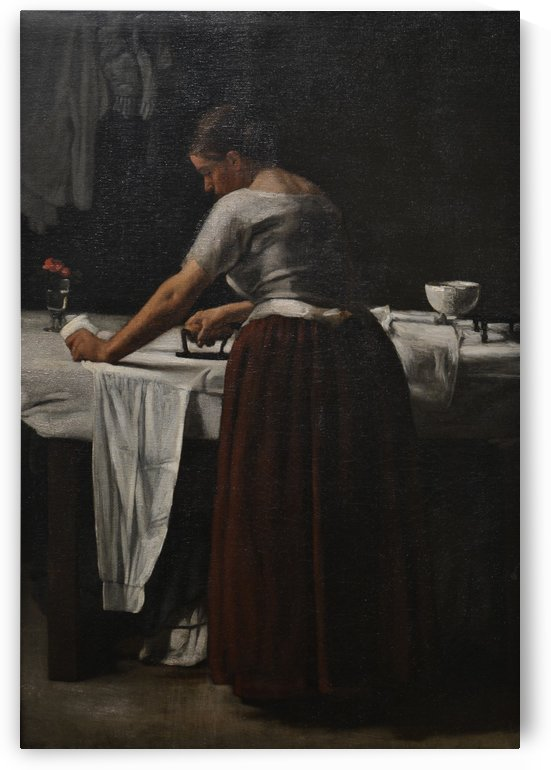 Woman ironing by Francois Bonvin