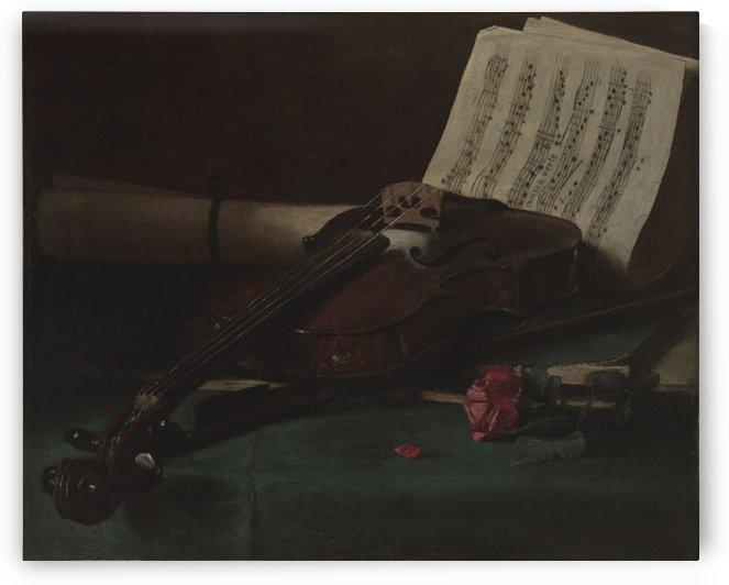Still life violin by Francois Bonvin
