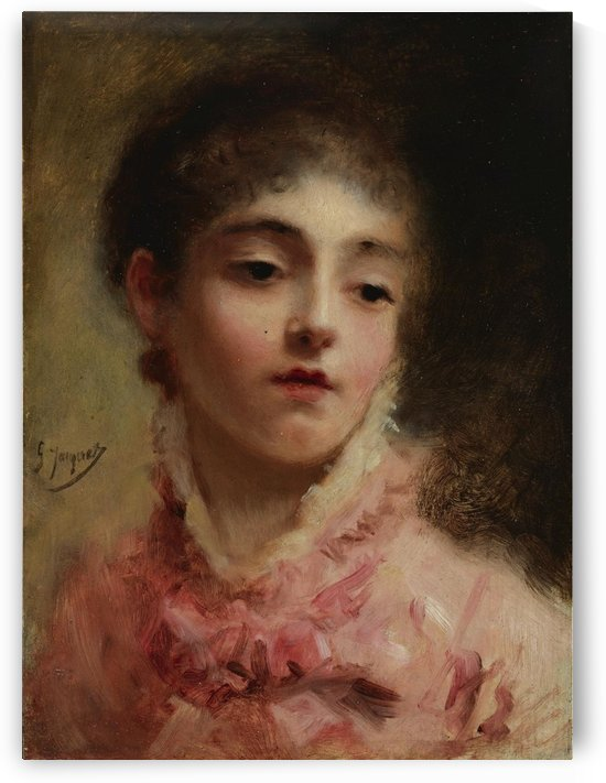 Young lady with red dress by Gustave Jean Jacquet