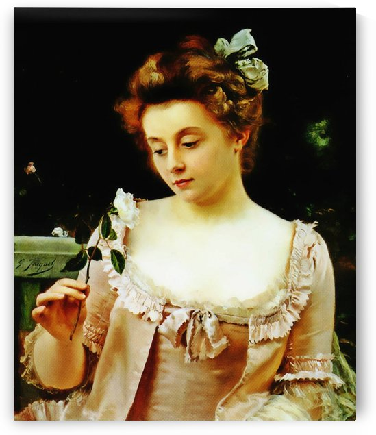 Girl with rose by Gustave Jean Jacquet