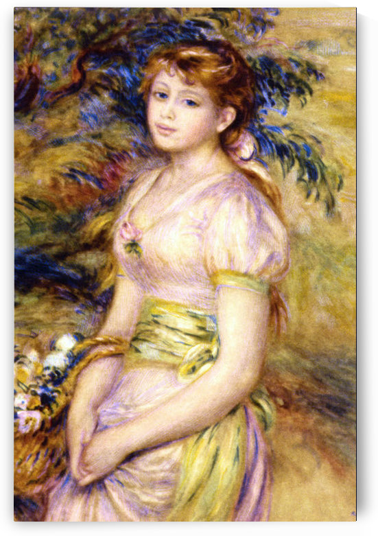 Young Girl with a Basket of Flowers by Renoir by Renoir