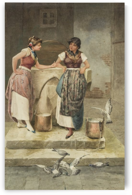 Two women chatting by the well by Vincent G. Stiepevich