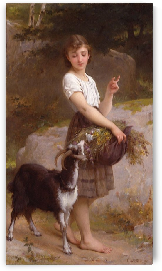 Young girl with goat and flowers by Emile Munier