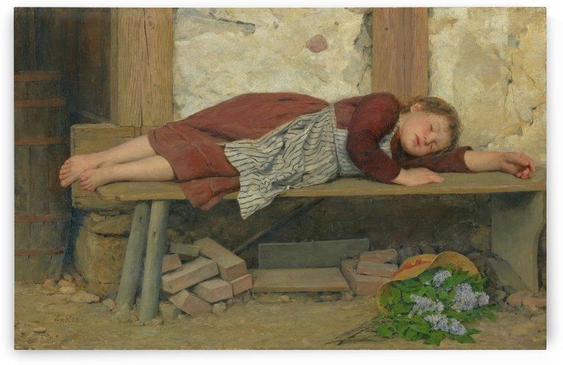 A little girl resting by Emile Munier