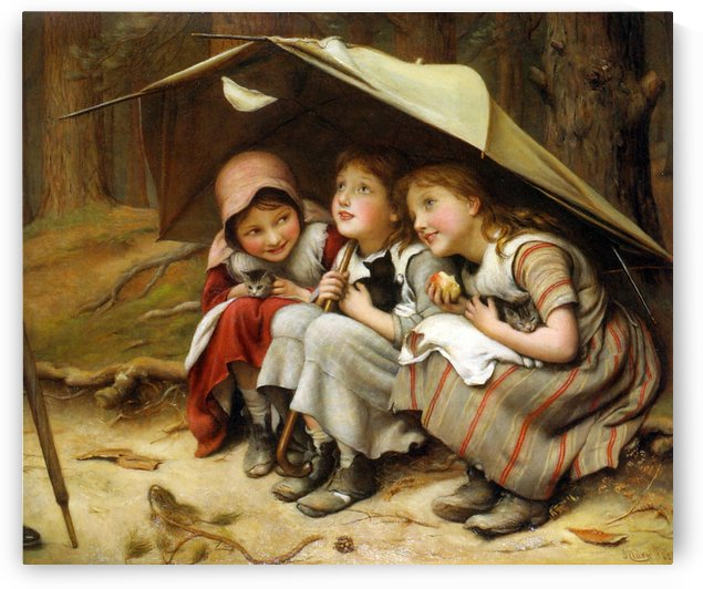 Best friends under an umbrella by Emile Munier