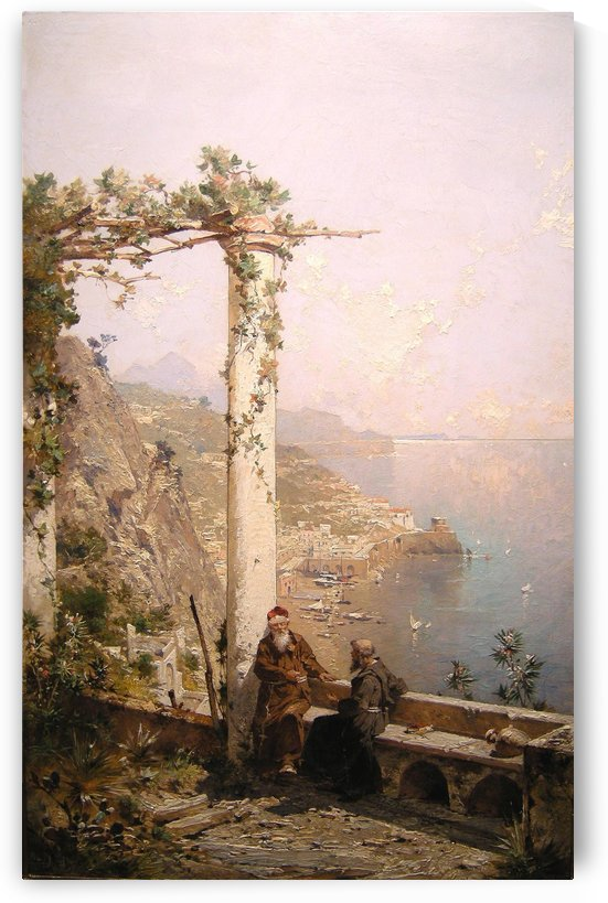 Two monks on the coast of Amalfi by Franz Richard Unterberger
